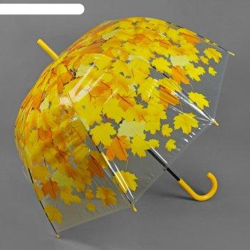 Зонт жен.п/автомат трость h=54см r=42,5 см листопад цвет желтый