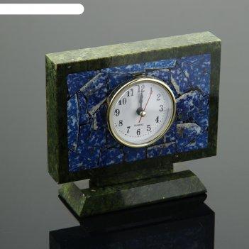 Часы настольные семафор, 15х5х13 см, змеевик, лазурит