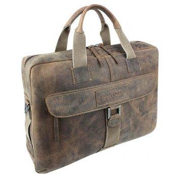 Портфель на молнии wenger arizona, коричневый, мягкая кожа, 55x11x40 см