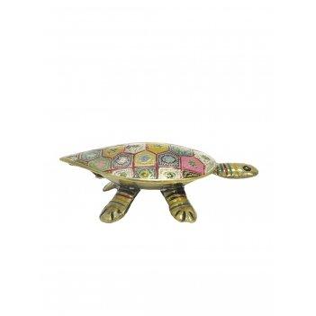 Шкатулка черепаха латунь с цветной эмалью 4,75
