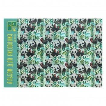 Альбом д/рис а4 30л на склейке панды на прогулке,обл мел карт,глян лам,бл