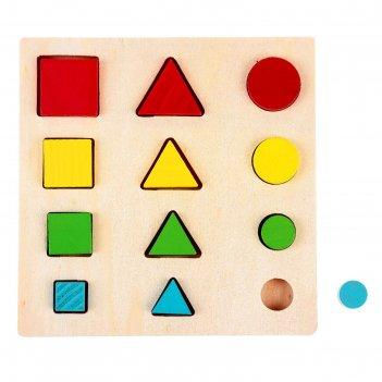Головоломка логические дроби учим формы, цвета и размеры, 12 элементов
