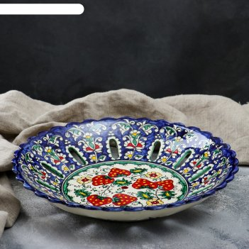 Фруктовница «риштан», 33 см, синяя, ягодный узор