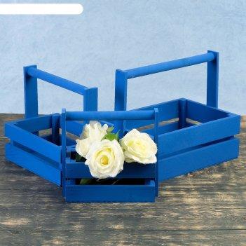 Набор кашпо деревянных подарочных модерн, 3 в 1, с ручкой, синий