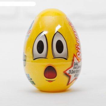 Тесто для лепки смайл, пасхальное яйцо, 2 цвета по 20 г, формы, наклейка,
