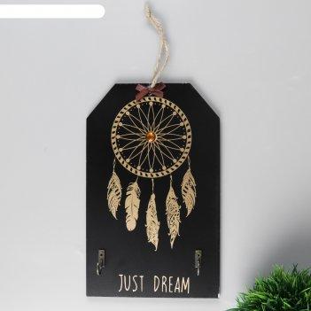 Крючки декоративные дерево золотой ловец снов на чёрном 24х15 см