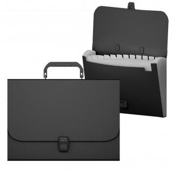 Портфель пластиковый а4 12 отделений erichkrause matt classic черный 50437