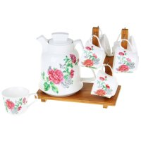 Чайный набор крупные розы 7 предметов: кружки 6 шт 200 мл, чайник 1800 мл