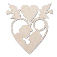 Деревянная заготовка подвеска сердечко  (l-56)