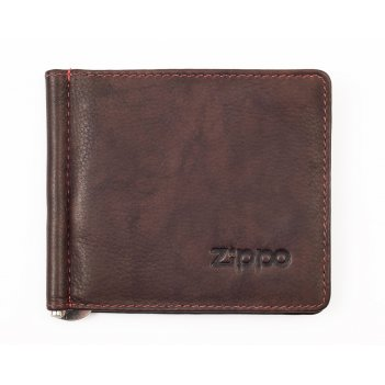 Зажим для денег zippo, коричневый, натуральная кожа, 10,5x1x9 см