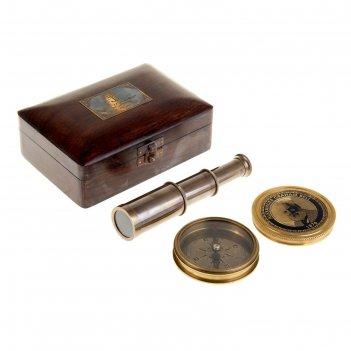 Сувенирный набор в шкатулке шкипер (компас, подзорная труба)