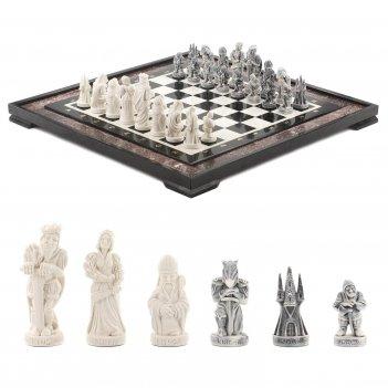 Шахматы средневековье креноид мрамор 480х480 мм