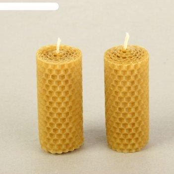 Набор свечей из вощины медовая с добавлением эфирного масла лаванда 8 см,