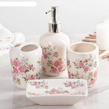 Набор аксессуаров для ванной комнаты, 4 предмета розовые розы