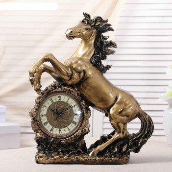 Часы настольные конь, цвет  золото, 51х39х17 см  микс