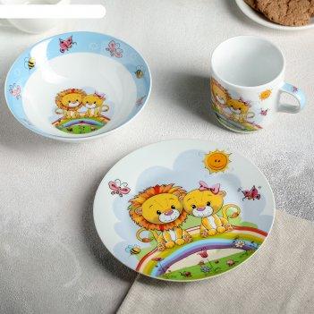 Набор детской посуды 3 предмета львята кружка 250 мл, миска 400 мл, тарелк
