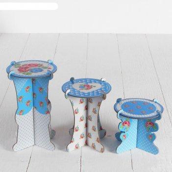 Подставка для пирожных цветочный сад, набор 3 шт., d=10 см