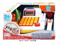 Касса эл. супермаркет с набором продуктов и сканером.