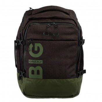 Рюкзак молодежный эргоном.спинка grizzly rq-019-2 45*32*21 мал, чёрный/хак