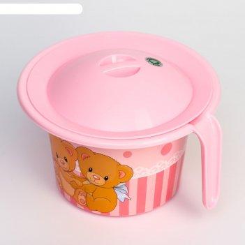 Горшок детский кроха с крышкой и декором, цвет розовый