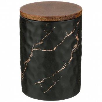 Банка для сыпучих продуктов коллекция золотой мрамор цвет:black 11,5*16 см