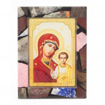 Икона настольная казанская рамка мозаика из самоцветов 100х130х30 мм 240 г