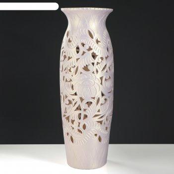 Ваза напольная форма луиза резка кремовая