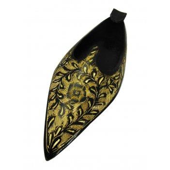 Пепельница башмак латунь с черной эмалью
