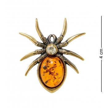 Am-1894 брошь паук (латунь, янтарь)