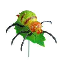Декор садовый паучок на листочке, штекер 60 см, микс цвета