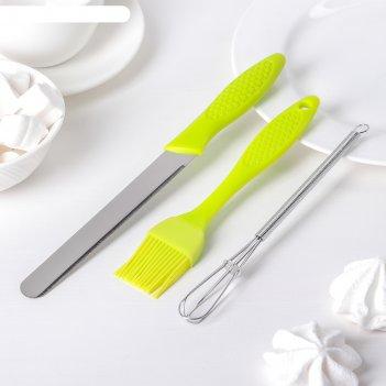 Набор кондитерский 3 предмета: кисть, нож, венчик, цвета микс