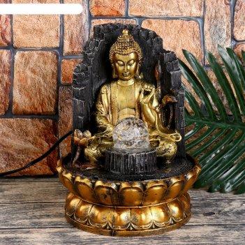 Фонтан настольный от сети, подсветка будда у скалы 26х20х20 см