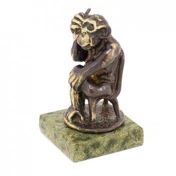 Статуэтка обезьяна с телефоном бронза змеевик