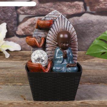 Фонтан настольный от сети, подсветка маленький будда - медитация 22х13х13