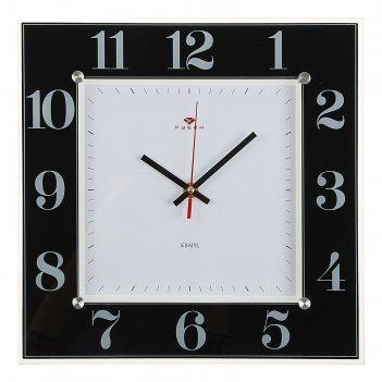 Часы настенные, серия: классика, классика, 31х31 см стекло, черные рубин