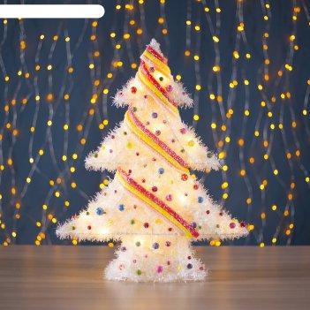 Фигура новогодняя ёлка с шариками, 15 led, 48 х 39 см, от батареек (не в к