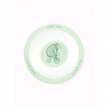 Тарелка глубокая для кормления happy baby, от 6 месяцев, цвет olive