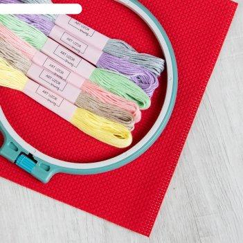 Набор для вышивания: канва без рисунка, нитки 6 шт, пяльцы d16 см