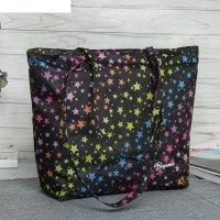 7926 дизайн сумка пляжная bagamas, 34*11*29, отд на молнии, черный/звезды