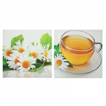 Модульная картина на подрамнике чай с ромашкой, 2 — 50x50 см, 50x100 см