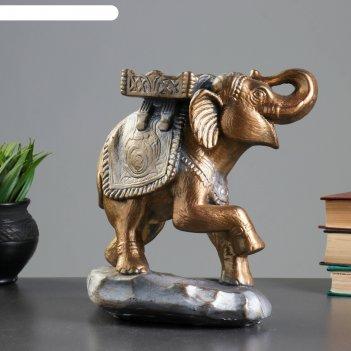 Фигура слон стоя бронза/серебро 14х25х25см
