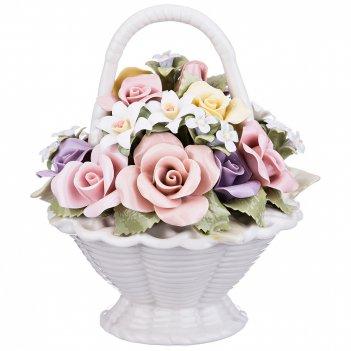 Статуэтка корзина с цветами 11*11*12 см. (кор=24шт.)