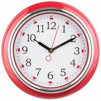 Часы настенные кварцевые lovely home диаметр=26 см цвет:красный (кор=6шт.)