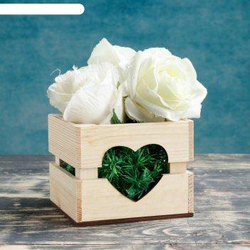 Ящик-кашпо сердце, сердний, 11х12х9см