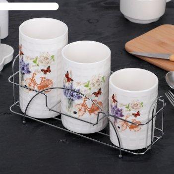 Набор подставок для столовых приборов 28х10х17 см романтика, 3 шт