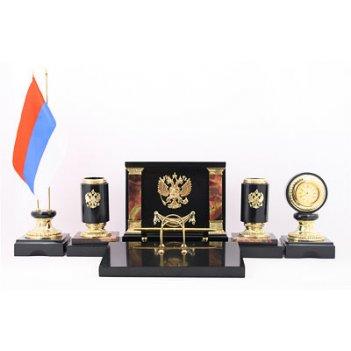 Настольный набор из яшмы россия камень яшма и долерит (арт. 3223)