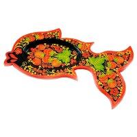 Блюдо икорница - рыбка, хохлома
