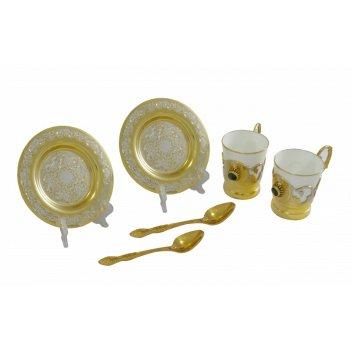 Набор кофейный с малахитом ( 2 тарели, 2 чашки, 2 ложки) златоуст