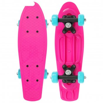 Скейтборд 42 х 12 см, колеса pvc 50 мм, пластиковая рама, цвет розовый