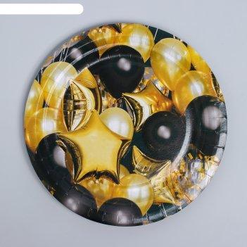 Тарелка бумажная «чёрное золото», шары, 18 см